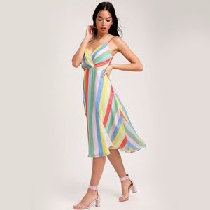 *lulus* NWT Winning Smile Rainbow striped dress M